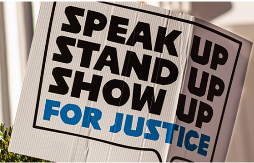 Speak Up Stand Up Show Up For Justice Image